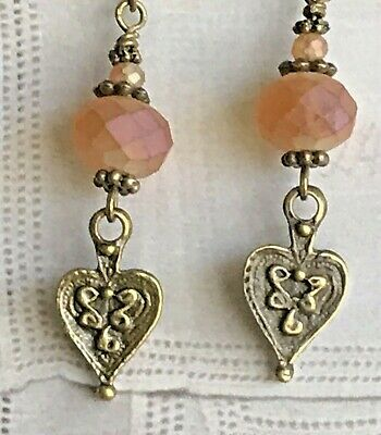 VINTAGE ANTIQUE STYLE DUSKY PINK AND BRONZE EARRINGS
