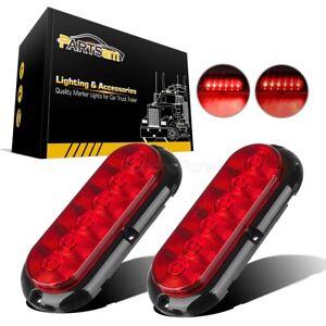 2x-Trailer-Truck-Boat-Red-6-LED-Flange-Mount-6-034-Oval-Stop-Turn-Tail-Brake-Lights