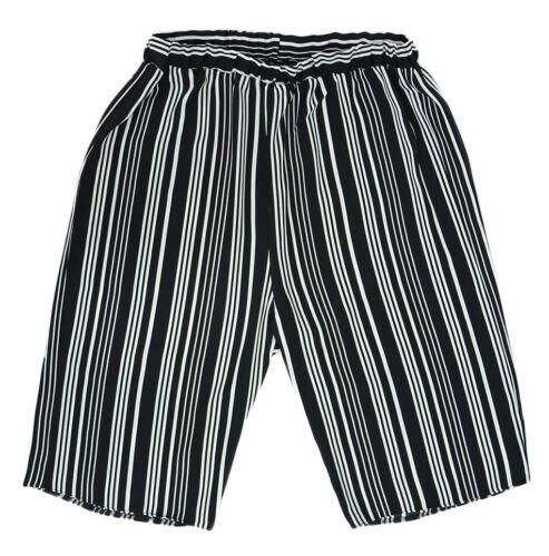 New 12-26 New Black White Stripe Culottes Light Shorts Elastic Waist Trending