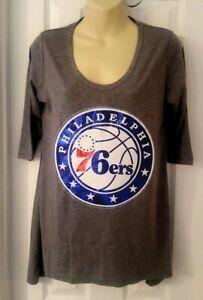 9763e5cc1 PHILADELPHIA 76ers Womens T Shirt Small Oversized Top Sequin Sparkle ...