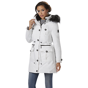 Parka Rocawear L 4 Hooded længde Drawstring 3 538 njg1w Kvinder Hvid Talje W XWfnn