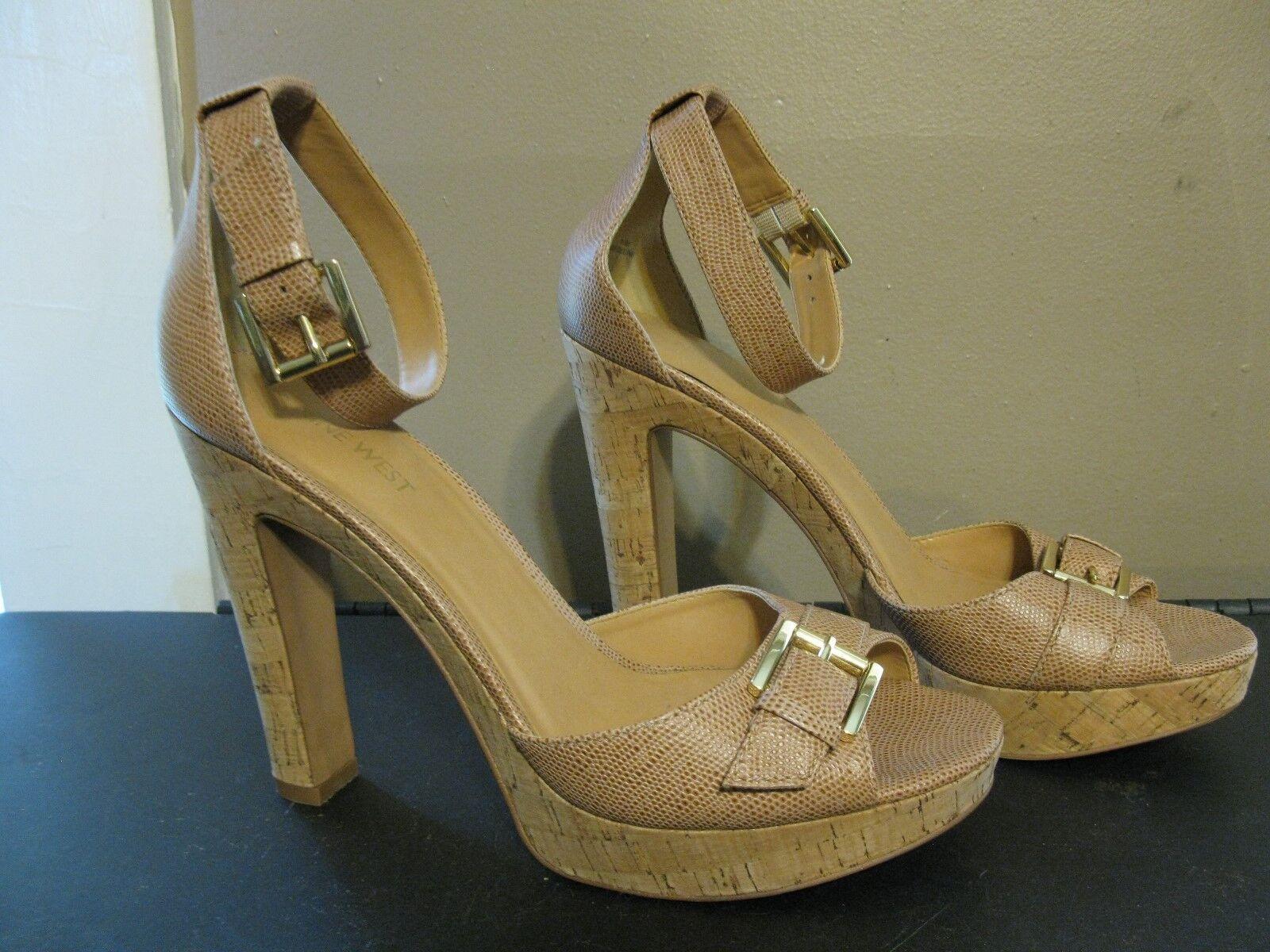 Nine West Tan Leather Cork Platform Open Sandals Toe Sandals Open Ankle Strap Gold Buckles 10 1a429f