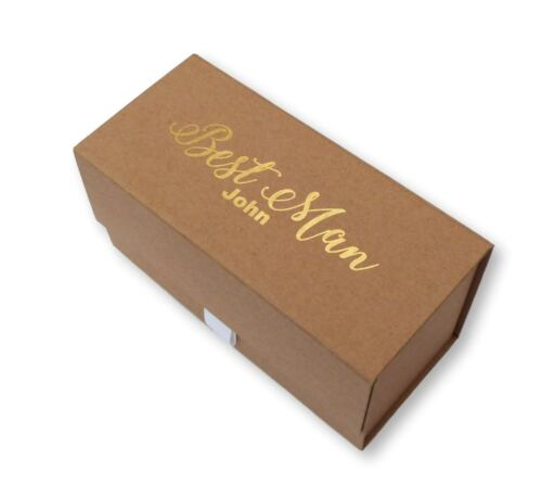 Oblongs Personalised Gold Foil Brown Poison BOX BEST ON Thank You Usher Wedding