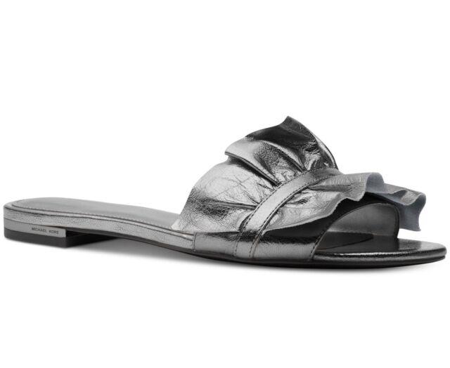 198fd6d2e612 Size 7 Michael Kors Leather Bella Slide Ruffles Silver Gunmetal Sandals for  sale online