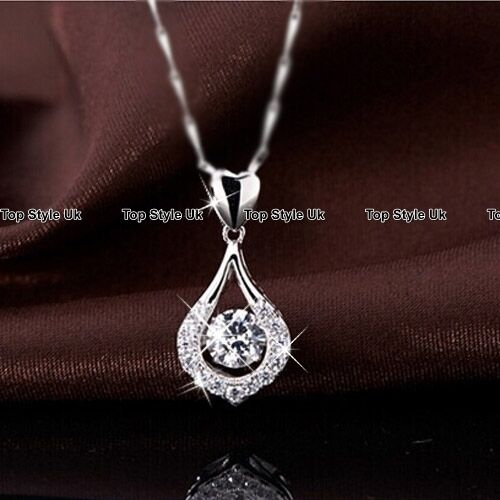 Silver Round Crystal /& Heart Necklace Pendant Chain Gifts for Her Women Girls C3