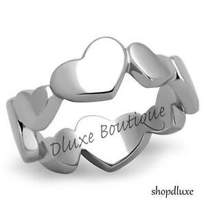 Women-039-s-Silver-Stainless-Steel-Eternity-Heart-Promise-Fashion-Ring-Size-5-10