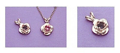 2, 3 or 4mm Round Accented Rose Style Silver Pre-Notched Pendant Setting