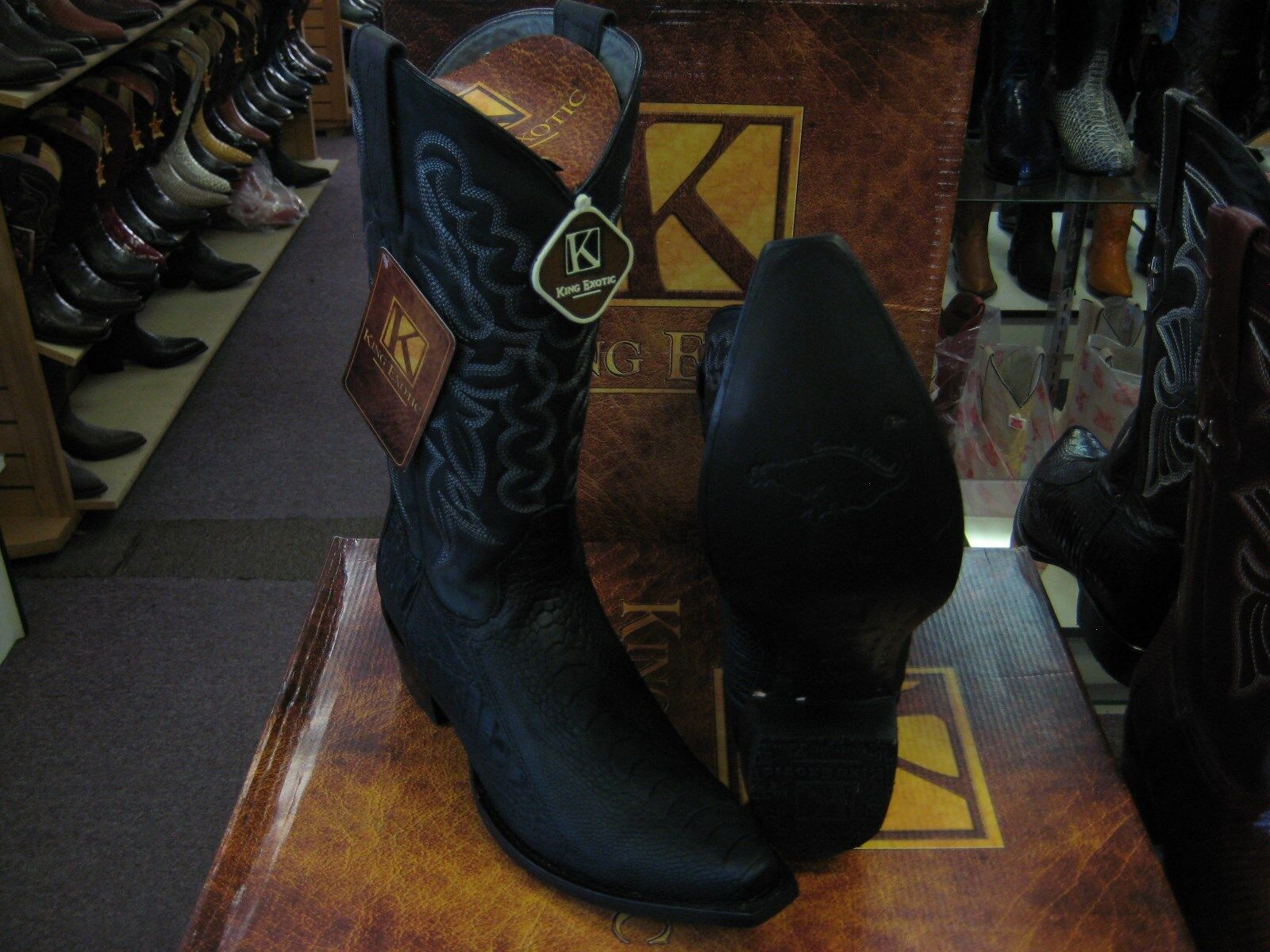 KING EXOTIC BLACK SNIP TOE GENUINE OSTRICH LEG WESTERN COWBOY BOOT 94DG0505