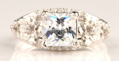 Echtschmuck 925er Sterling Silber 2,40kt Atemberauben Prinzessin Form Solitär Verlobung Ring