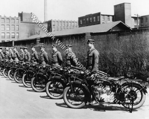1926 Indian Scout Motorcycles Police Officers VINTAGE Photo RARE Image Pic