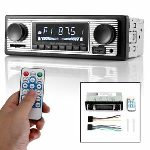 Details about 12V Bluetooth Retro Car Radio MP3 Player Stereo USB AUX  Classic Car Stereo Audio