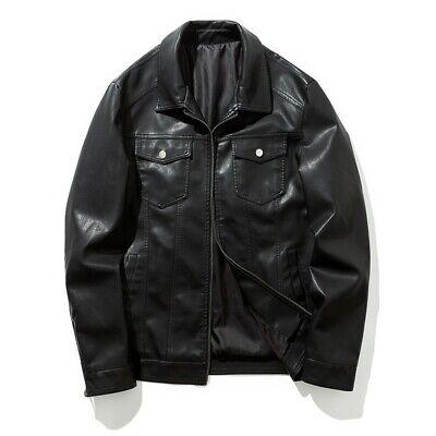 Men Leather Jacket Lapel Tooling Motorcycle Biker Outwear ...