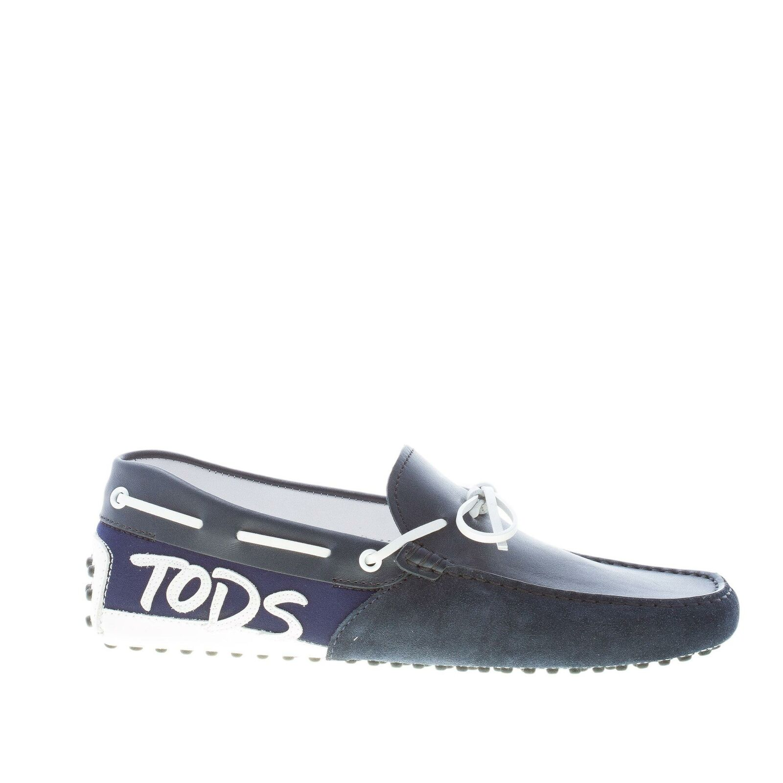 TOD'S Chaussures Hommes Bleu Velour Cuir Cuir GOMMINI Mocassins with logo