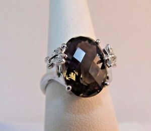 14k White Gold 4 5ct Smokey Topaz Dinner Ring Size 7 Save 600 R77 Ebay