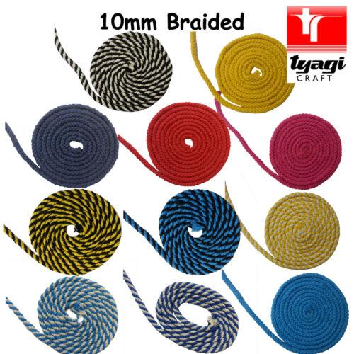 10mm Intrecciato Cotone Corda 100/% Naturale Morbido Multicolore 8 Filo Creazioni