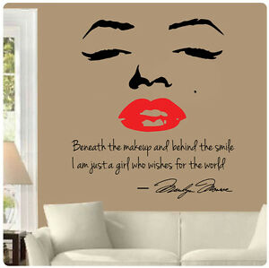 Marilyn Monroe Wall Decal Decor Quote Face Red Lips Makeup Sticker