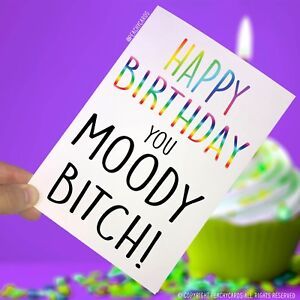 Image Is Loading Funny Happy Birthday Greeting Card Moody Bitch Girlfriend