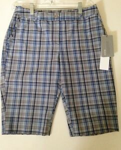 Ladies-Cutter-amp-Buck-Blue-Plaid-Golf-Shorts-Reg-74-00