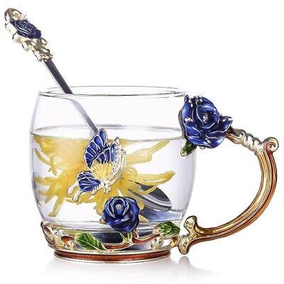 Luxury Unique Set Glass Tea Cup Coffee Mug Blue Rose Flower Gold Enamel Gift Box | eBay