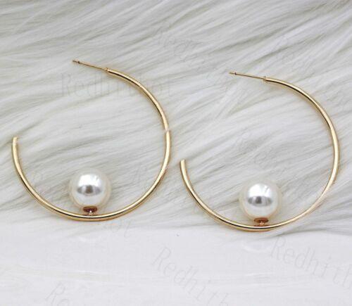 "18K Gold Filled 2/"" Boucles d/'oreilles crochets creux incrusté Perle Eardrop Nice oreille PIN DS"