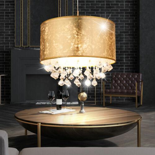 LED Kristall Hänge Lampe Wohn Raum Beleuchtung Stoff Decken Pendel Leuchte gold