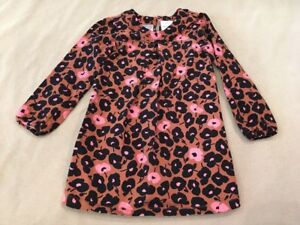 Hanna-Andersson-Tunic-110-Girls-Brown-Pink-Black-Floral-Long-Sleeve