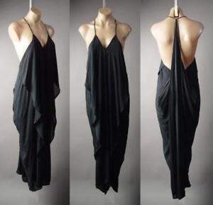 Black-Ruffle-Drape-Grecian-Goddess-Long-Maxi-Cami-Slip-Gown-216-mv-Dress-S-M-L