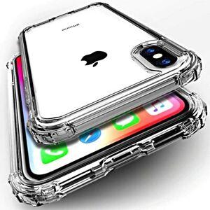 Dettagli su COVER per Iphone X XS Max XR Silicone TPU Clear Bordi Rinforzati VETRO TEMPERATO