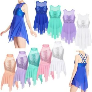 Children-Girls-Sequins-Lyrical-Modern-Ballet-Dance-Wear-Tutu-Dress-Show-Costumes