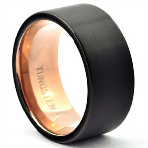 Image Is Loading Black Tungsten Ring Rose Gold Mens Wedding Band