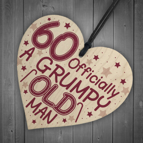 Rude 60th Birthday Funny Wooden Heart Birthday Gift For Dad Grandad Gift For Him