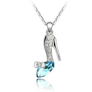 Sparkling glass slipper pendant necklace fashion jewelry ebay image is loading sparkling glass slipper pendant necklace fashion jewelry aloadofball Gallery