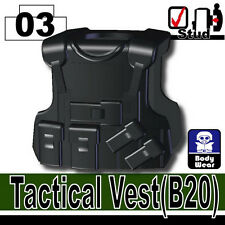 Black B20 (W23) Tactical Army Vest Compatible with toy brick minifigures SWAT