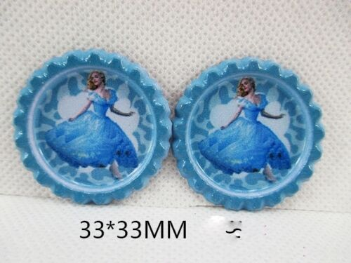 10 X 33mm PRINTED CINDERELLA THE MOVIE BOTTLE CAPS HEADBANDS HAIR BOWS SALE LOOK