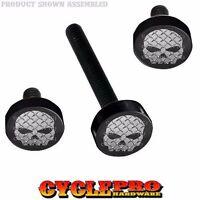 Black Billet Fairing Windshield Hardware Kit 14-up Harley Touring - Grey Skull