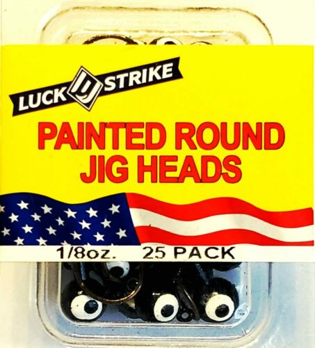 "Luck /""E/"" Strike 25 Bronze Black Crappie Magic Painted Round 1//8 oz Jig Heads"