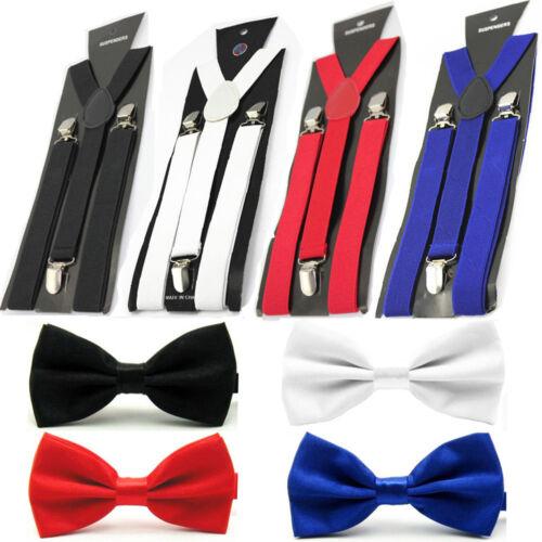 Men Solid Color Bowtie Elastic Y-Back Suspender Plain Bow Tie Brace Set Lot