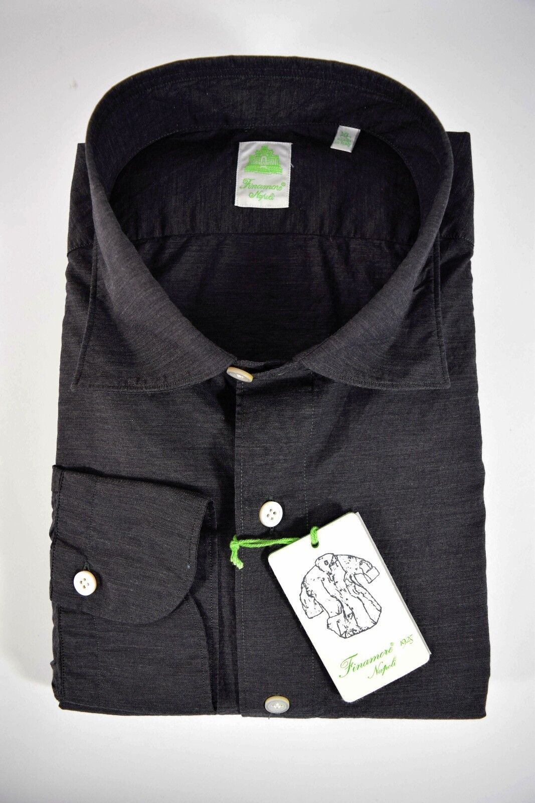 FINAMORE camicia UOMO sartoriale casual 100% COTONE grigio scuro tg. XL-XXL-3XL
