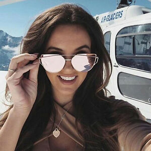 908098c82e3 Details about Women Mirror Sunglasses Cat Eye Designer Fashion Mirror Lens  Love Punch Style