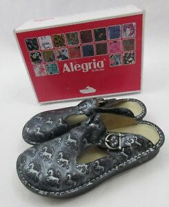 Alegria-PG-Lite-Donna-Lucky-Horse-Shoes-Clogs-Slip-On-Silver-Size-39-9-9-5-NEW