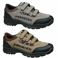Mens Touch Fastening Trail Shoes Trainers in Grey or Khaki Size 6 7 8 9 10 11 12