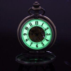 Brass-Tone-Half-Hunter-Arabic-Case-Luminous-Skeleton-Dial-Wind-Up-Pocket-Watch