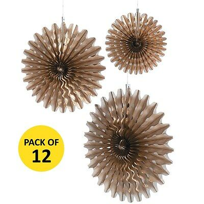COPPER GOLD TISSUE PAPER FAN DECORATIONS PACK OF 12 PARTY WEDDING SUPPLIES