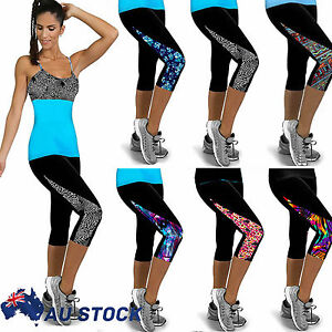 Ladies-Sports-Yoga-Fitness-Capri-Leggings-Gym-3-4-Pant-Slim-Fit-Cropped-Trousers