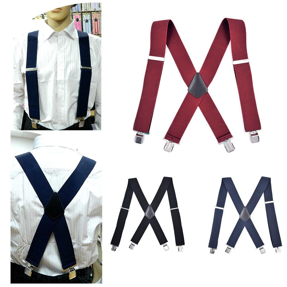 50mm Adjustable Men Heavy Duty Metal Clips Braces Trouser Belt Suspender P6A