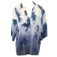 Citron Clothing Plus Size Silk Orientalist Dragon Button Down Blouse 2x