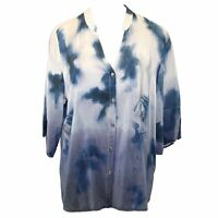 Citron Clothing Plus Size Silk Orientalist Dragon Button Down Blouse 2x