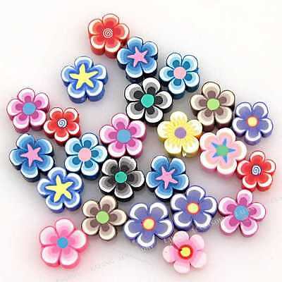 60x 110498 Oblate Flowers FIMO Polymer Clay Beads Fit Jewelry making  10mm