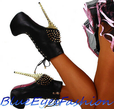 Luxus Stiefeletten SCHWARZ Sexy High Heels designer Party boots Nieten  Schtachel 27ca62368c