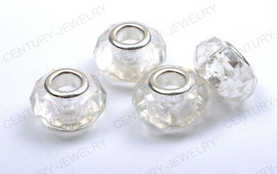 Lots Silver Buckle Faceted Acrylic Bead For European Beaded Charms Bracelet 14MM
